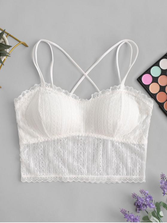 trendy Criss Cross Lace Strappy Bra - WHITE ONE SIZE