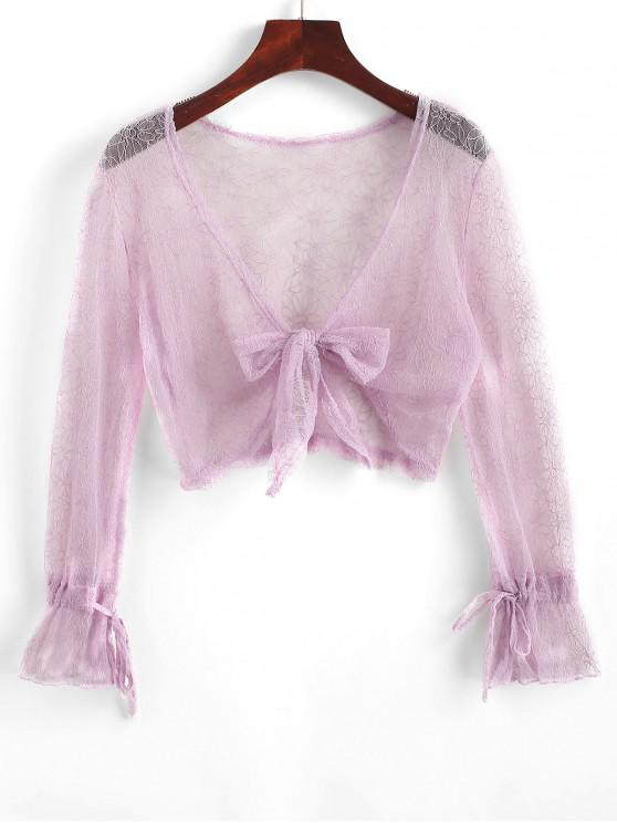online Tie Poet Sleeve Sheer Cover-up - MAUVE ONE SIZE