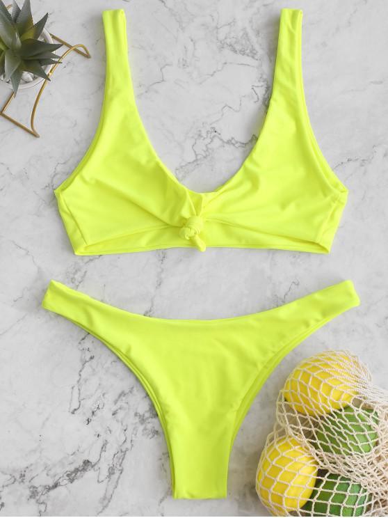 sale ZAFUL Neon Knot Tank Bikini Swimsuit - TEA GREEN M