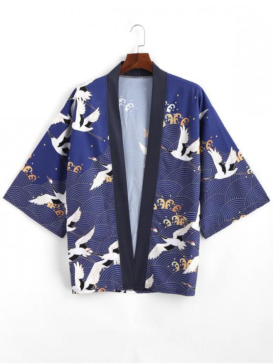 fashion Flying Crane Sea Waves Print Open Front Kimono Cardigan - LAPIS BLUE 3XL