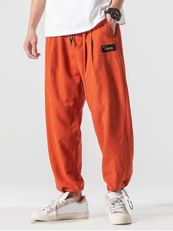 Pantalones casuales con apliques de bolsillo sintéticos en color liso - Mandarina S