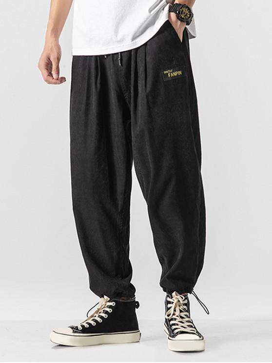 Pantalones casuales con apliques de bolsillo sintéticos en color liso - Negro XL