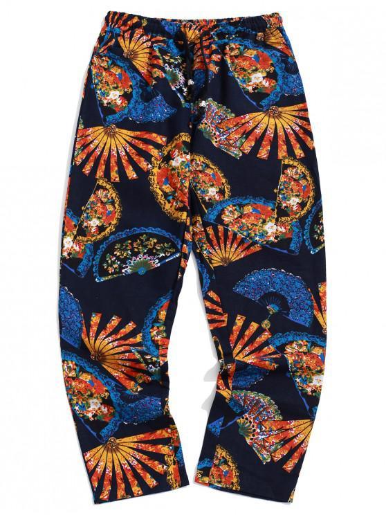 Pantalones largos tribales con estampado de abanico floral - Multicolor-B S