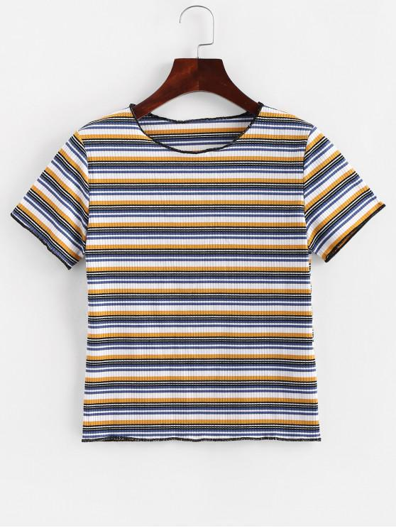 outfit Multicolor Striped Round Neck Tee - MULTI-A M
