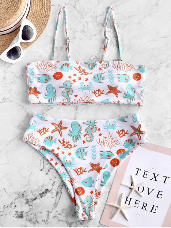 chic ZAFUL Octopus Starfish Print High Leg Cami Bikini Swimsuit - MULTI-A L