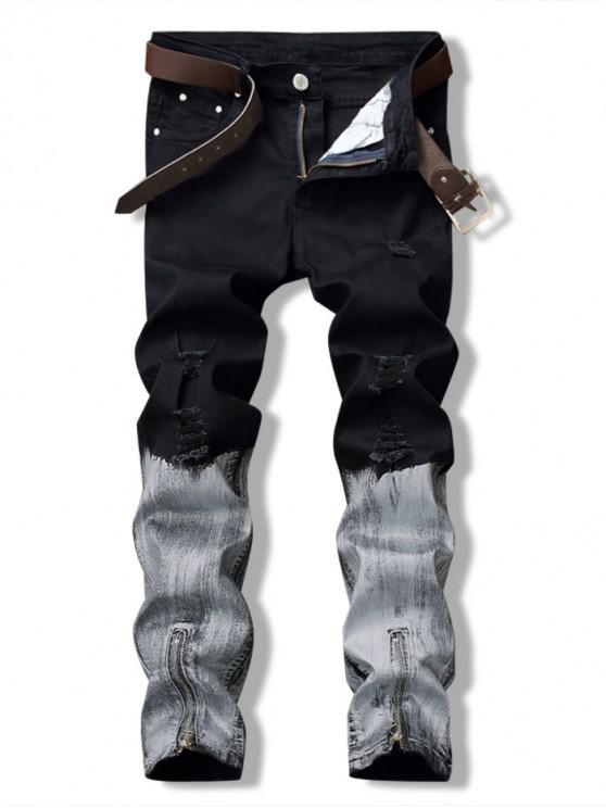 Jeans Rasgados de Bloque de Color de Cremallera - Negro 40