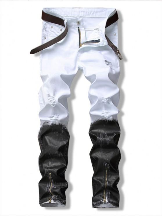 online Long Color Block Ankle-Zip Ripped Jeans - WHITE 34