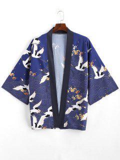 Fliegende Kran- Meer-Welle- Kimono-Strickjacke Mit Offener Vorderseite - Lapisblau Xl