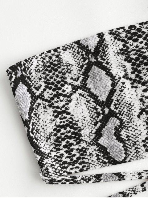 shops ZAFUL Criss Cross Snake Print Bandeau Crop Top - MULTI-A S Mobile