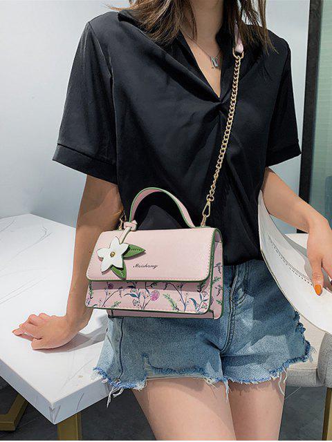 Sac carré en chaîne à fleurs avec poignée en haut - Rose   Mobile