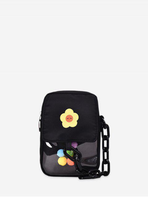 Sac à Bandoulière Fleur Décoré de Boule en Blocs de Couleurs - Noir  Mobile