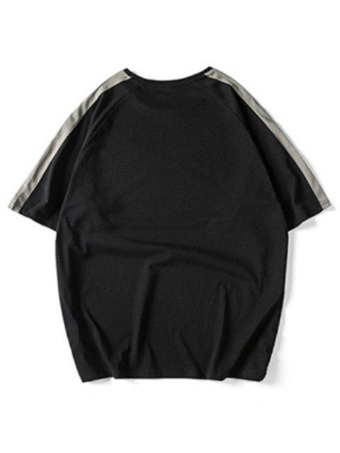 T-shirt Panneau avec Lettre à Manches Raglan - Noir 3XL Mobile