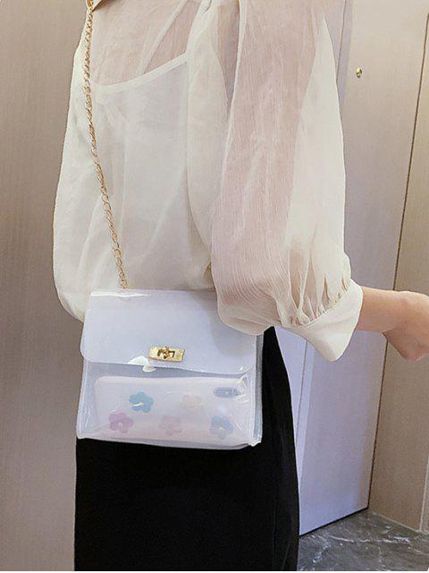Sac à bandoulière à chaîne carrée transparente solide - Blanc  Mobile