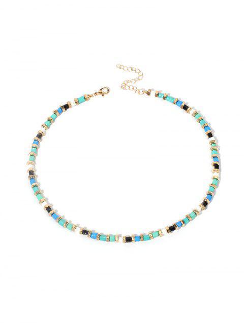 Геометрическое Короткое Ожерелье Бисер Искусственная бирюза - Средний бирюзовый  Mobile