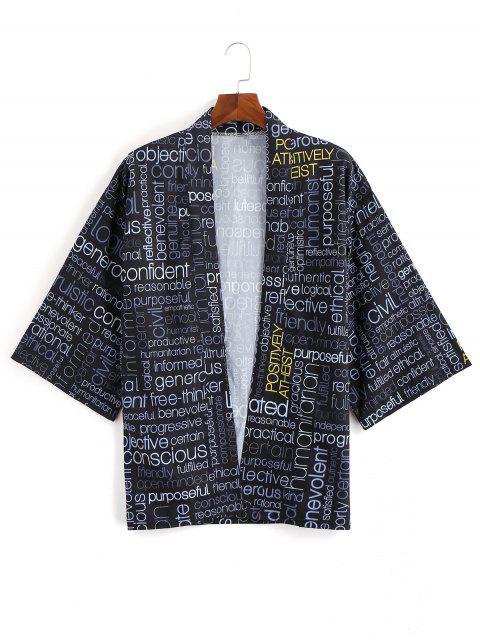 Cardigan Kimono à devant ouvert et imprimé graphique avec lettres - Noir 3XL Mobile