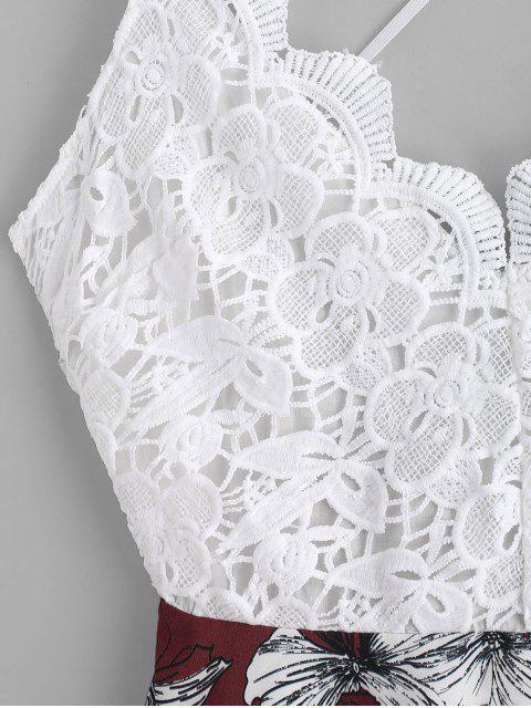 Blumendruck- Häkelndes Panel- Geknotetes Chasuble-Kleid - Multi-A S Mobile