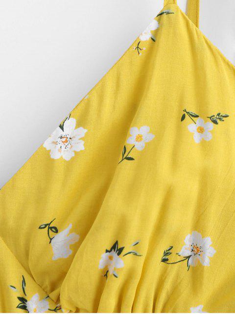 ZAFUL Robe d'Eté Fleurie à Epaule Nouée à Volants à Bretelle - Jaune de Maïs  S Mobile