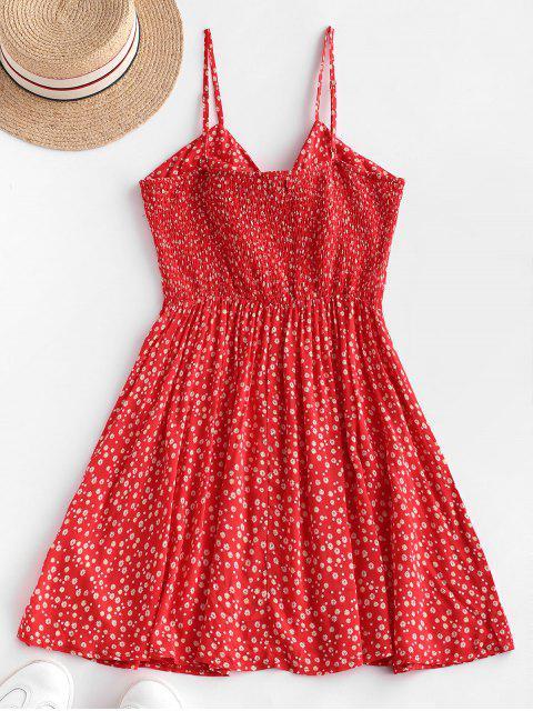 ZAFUL Robe d'Eté Nouée Plissée Fleurie à Bretelle - Rouge Rubis M Mobile