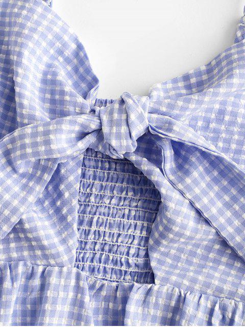 ZAFUL Robe Nouée Plissée à Bretelle en Vichy - Bleu de Ciel  L Mobile