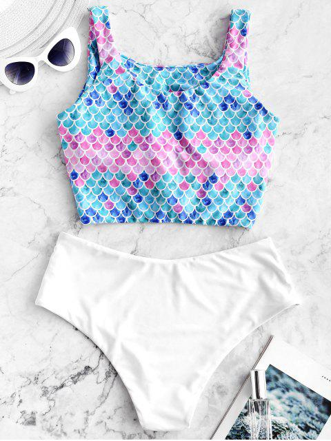 Traje de baño ZAFUL Knot Scale Mermaid Tankini - Multicolor-A M Mobile