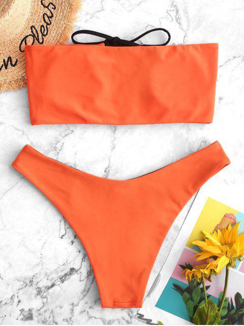 ZAFUL Maillot de Bain Bikini Bandeau Néon Réversible à Lacets - Orange Papaye L Mobile