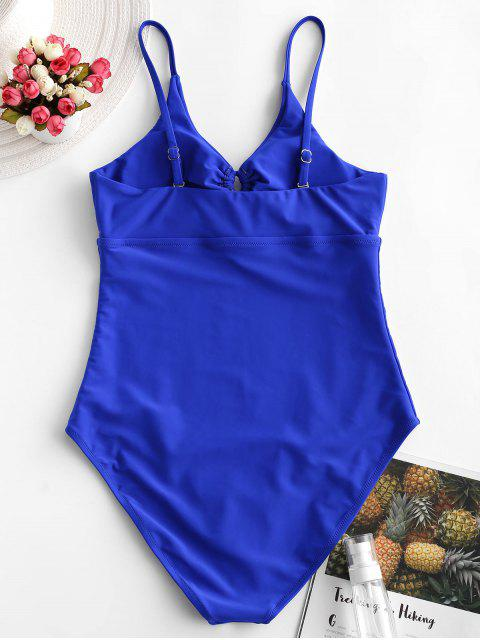 ladies ZAFUL Tie Cutout One-piece Swimsuit - BLUEBERRY BLUE S Mobile