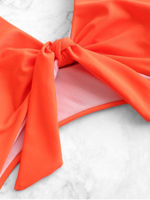 ZAFUL Maillot de bain une pièce à découpes avec nœuds et panneaux léopard - Orange Citrouille L Mobile