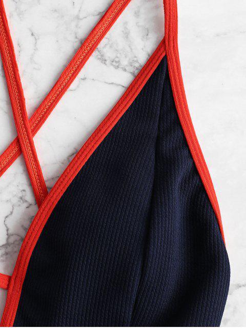 ZAFUL Контрастные цветы На шнуровке Ребристый Слитный Купальник - Военно-морской синий XL Mobile