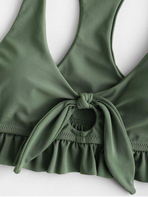 ZAFUL Traje de baño Tankini acanalado con estampado de hojas y nudo rizado con espalda cruzada - Verde Oscuro S Mobile