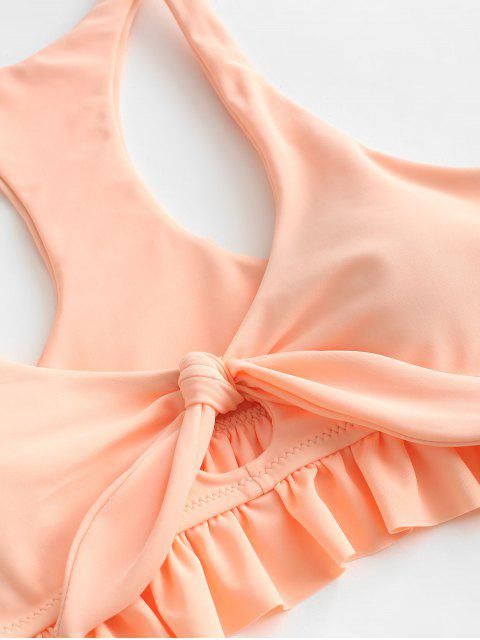 new ZAFUL Leaf Print Ruffled Knot Racerback Ruched Tankini Swimsuit - DEEP PEACH XL Mobile