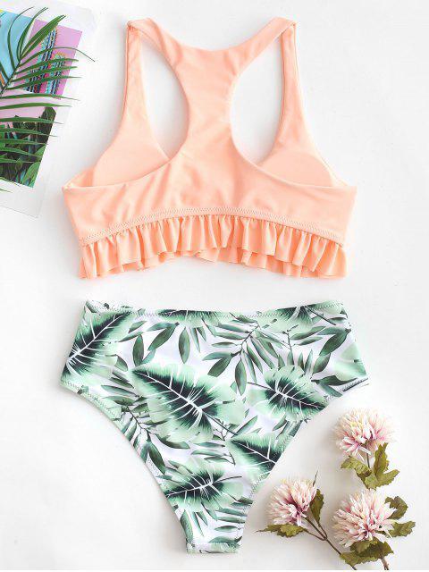 ZAFUL Traje de baño Tankini acanalado con estampado de hojas y nudo rizado con espalda cruzada - Color de Melocotón Oscuro L Mobile