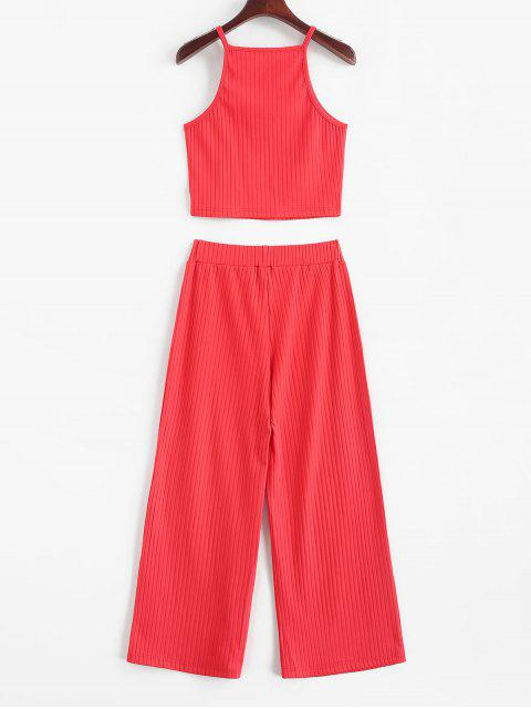 shop ZAFUL Cropped Plain Ribbed Two Piece Set - RED M Mobile