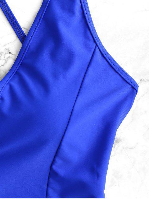 V-вырез Ками Перекрестные шнурки Слитный Купальник - Кобальт-синий   S Mobile