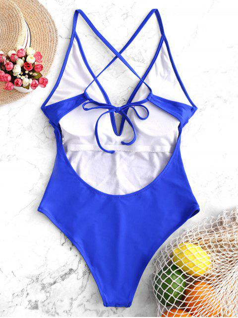 shops V Cut Cami Criss Cross One-piece Swimsuit - COBALT BLUE L Mobile