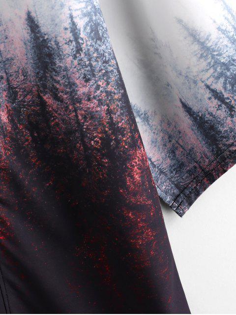 Gilet Kimono Peinture de Forêt Imprimée Ouverte en Avant - Café 3XL Mobile