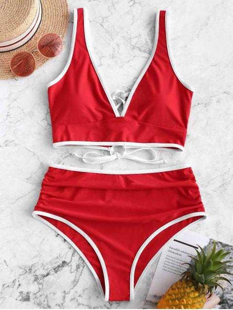 ZAFUL traje de baño Tankini con control de barriga y ribete en contraste - Rojo Lava M Mobile