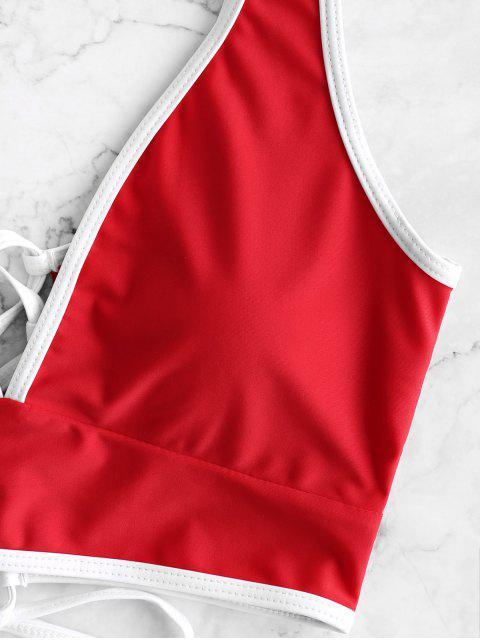 ZAFUL繫帶對比管道肚子控制Tankini泳裝 - 熔岩紅 2XL Mobile