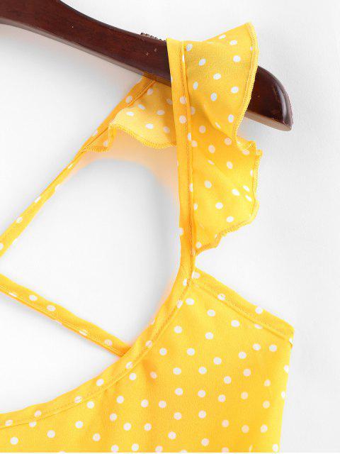 Mini Vestido Cruzado y Cordones - Amarillo S Mobile