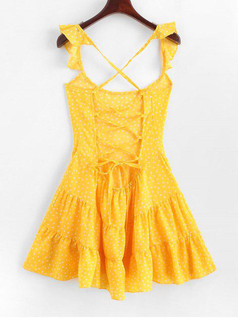 women's Dotted Lace Up Criss Cross Mini Dress - YELLOW L Mobile