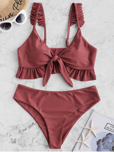 ZAFUL Ruffle Tie Front Plunging Tankini Swimwear - Castaño Rojo XL Mobile