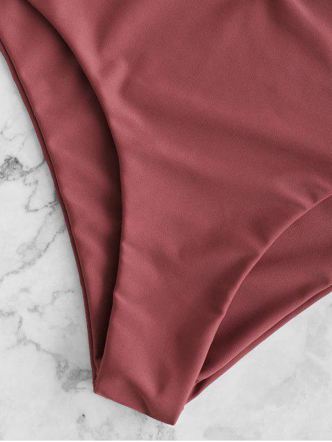 ZAFUL Ruffle Tie Front Plunging Tankini Swimwear - Castaño Rojo L Mobile