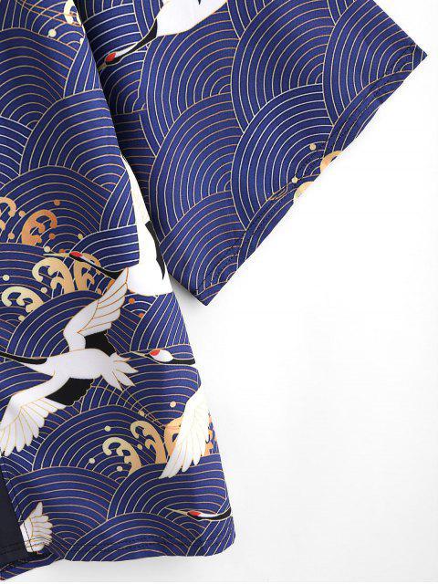 Cardigan di Chimono con Stampa Gru e Apertura Frontale Aperto Davanti - Lapis lazuli 3XL Mobile