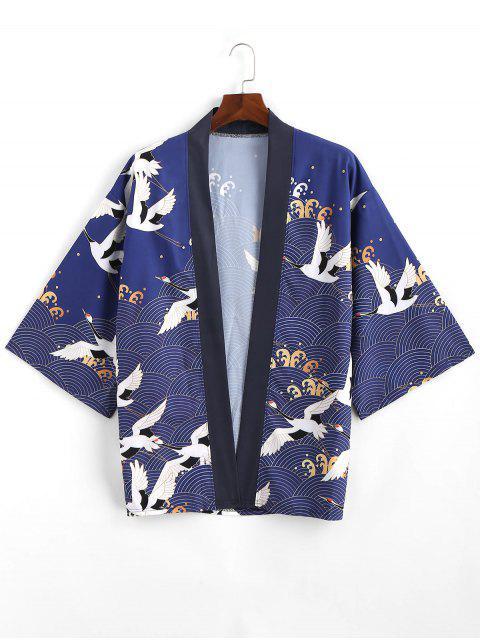 Cardigan Kimono Ouvert en Avant à Imprimé Vague de Mer - Bleu Lapis M Mobile