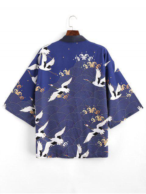 Cardigan di Chimono con Stampa Gru e Apertura Frontale Aperto Davanti - Lapis lazuli S Mobile