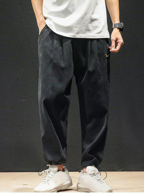 純色後背仿假口袋貼花休閒褲 - 黑色 M Mobile