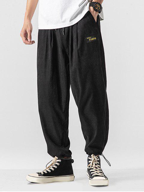 trendy Solid Color Back Faux Pocket Applique Casual Pants - BLACK XL Mobile