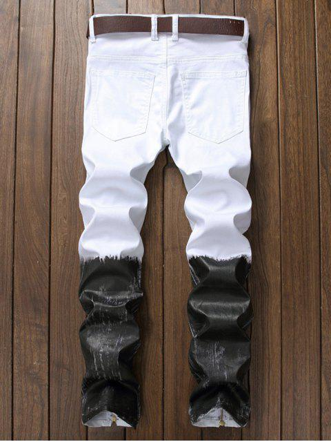 affordable Long Color Block Ankle-Zip Ripped Jeans - WHITE 32 Mobile