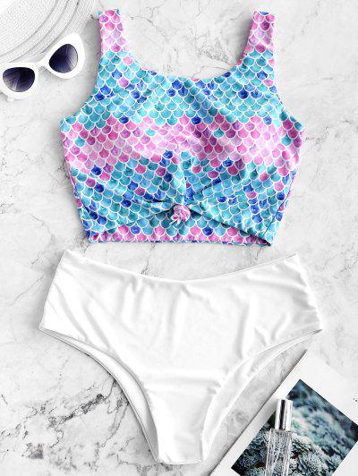 ZAFUL Knot Scale Print Mermaid Tankini Swimsuit