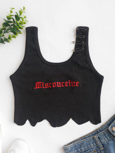 Safety Pins Ribbed Scalloped Embroidered Tank Top