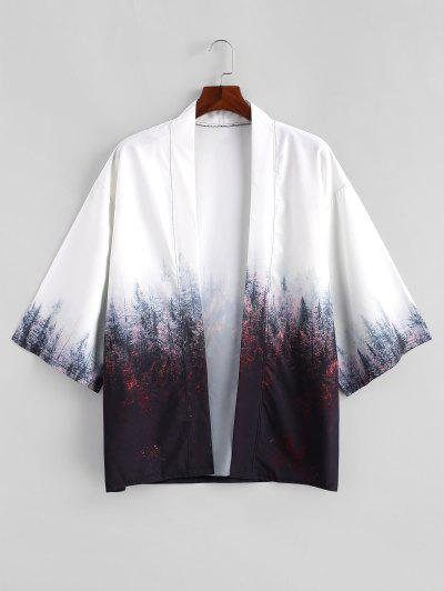 Forest Painting Print Open Front Kimono Cardigan - Coffee 2xl